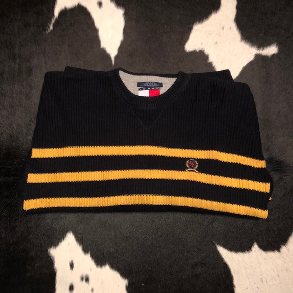 Tommy Hilfiger Other - Tommy Hilfiger navy & yellow striped crew sweater